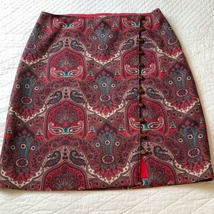 Talbots paisley button front pencil skirt 5461